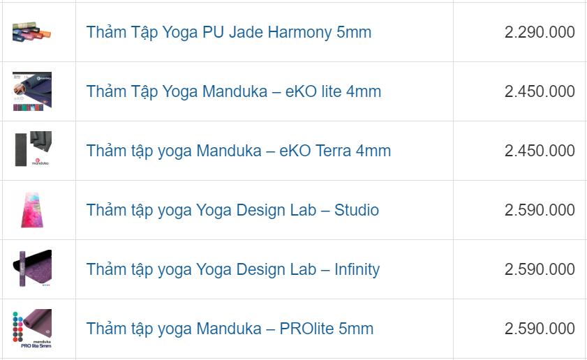 Giá Thảm tập yoga - Bảng giá bán lẻ mới nhất từ nhà cung cấp SportsLink
