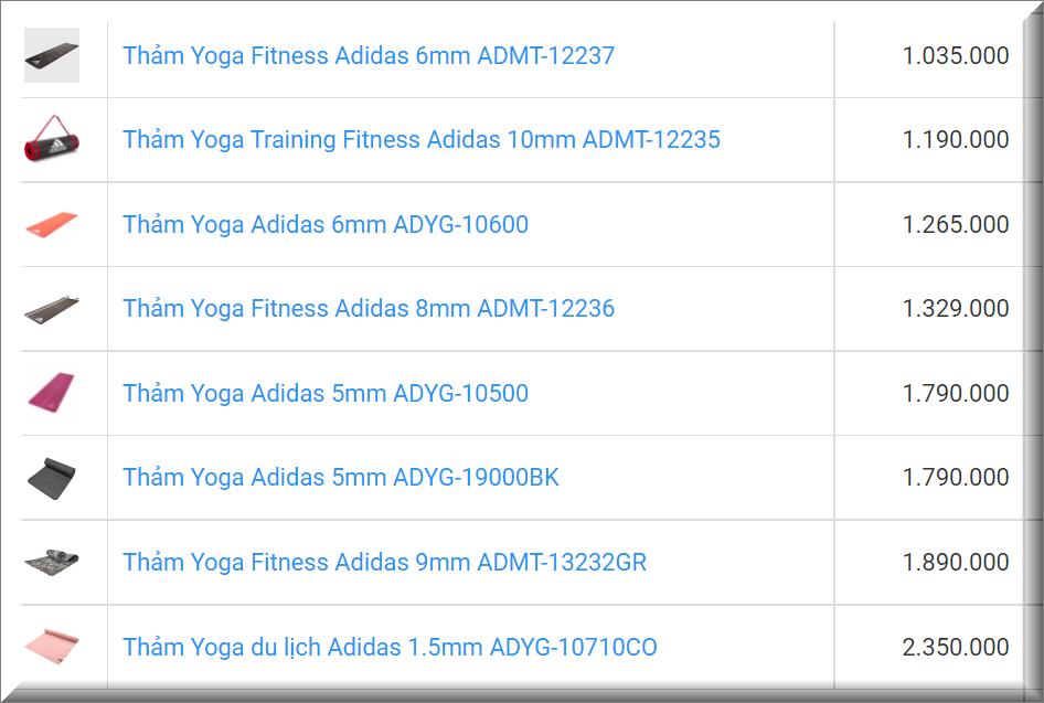 Giá Thảm tập yoga Adidas